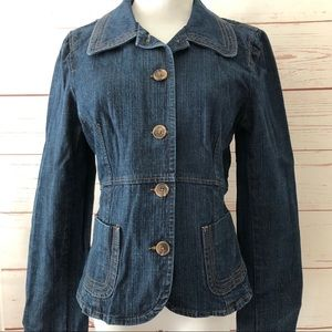 ANN TAYLOR fitted waist denim JEAN JACKET